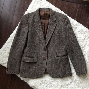 Vintage Harris Tweed Wool Schoolboy Blazer, EUC